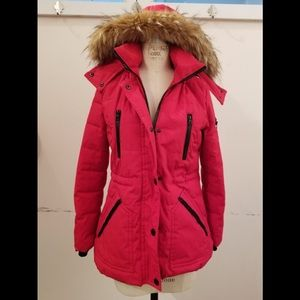 Red GUESS winter parka